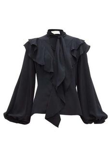 Peter Pilotto Ruffled balloon-sleeve silk-crepe blouse