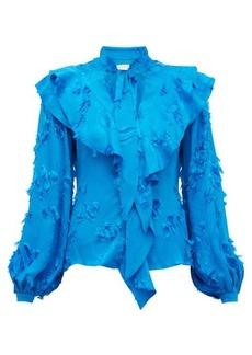 Peter Pilotto Ruffled fil-coupé satin-jacquard blouse