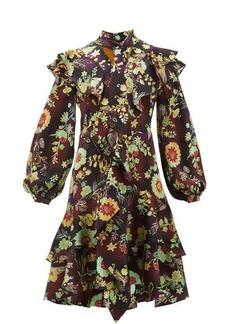 Peter Pilotto Ruffled floral silk-cloqué dress
