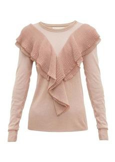 Peter Pilotto Ruffled scalloped-edge lurex sweater