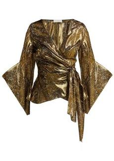 Peter Pilotto Silk-blend lamé wrap blouse