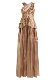 Peter Pilotto Striped lamé-chiffon gown