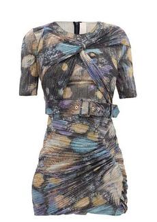 Peter Pilotto Twist-front metallic-jersey mini dress