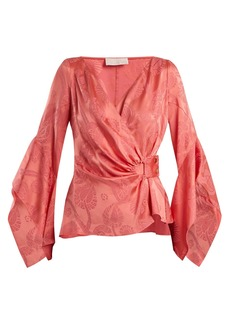 Peter Pilotto V-neck satin jacquard wrap blouse