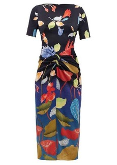 Peter Pilotto Waterflower-print knotted-front silk-blend dress