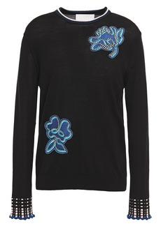 Peter Pilotto Woman Appliquéd Wool Sweater Black