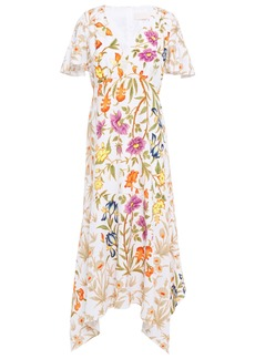 Peter Pilotto Woman Asymmetric Floral-print Cloqué Midi Dress White