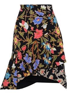 Peter Pilotto Woman Asymmetric Layered Floral-print Cloqué Skirt Black