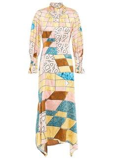 Peter Pilotto Woman Asymmetric Printed Hammered Silk-blend Satin Midi Dress Baby Pink