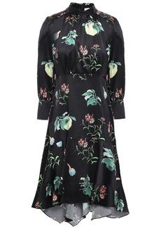 Peter Pilotto Woman Asymmetric Printed Hammered Silk-satin Dress Black