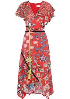 Peter Pilotto Woman Asymmetric Ruffled Floral-print Hammered Stretch-silk Midi Dress Red