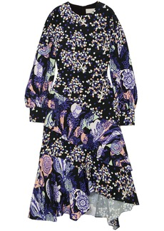 Peter Pilotto Woman Ruffle-trimmed Printed Silk Midi Dress Royal Blue