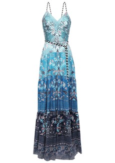 Peter Pilotto Woman Belted Printed Hammered Stretch-silk Satin Gown Blue