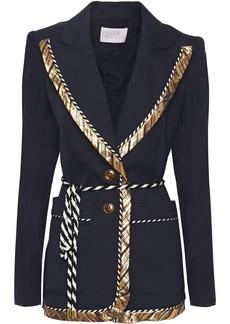 Peter Pilotto Woman Belted Stretch-crepe Blazer Navy