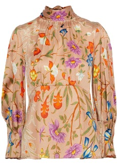 Peter Pilotto Woman Bow-detailed Floral-print Hammered Stretch-silk Blouse Peach