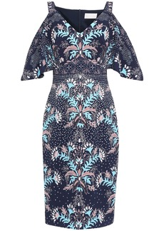 Peter Pilotto Woman Cold-shoulder Draped Printed Cloqué Dress Navy