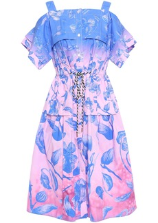 Peter Pilotto Woman Cold-shoulder Flared Floral-print Cotton-poplin Dress Blue