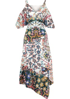 Peter Pilotto Woman Cold-shoulder Floral-print Hammered Stretch-silk Midi Dress White