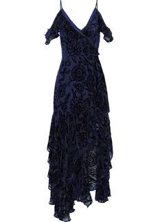 Peter Pilotto Woman Cold-shoulder Ruffled Devoré-chiffon Gown Navy