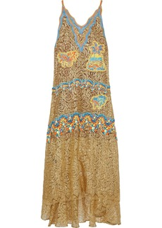 Peter Pilotto Woman Crochet-paneled Metallic Lace Maxi Dress Gold