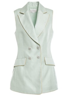 Peter Pilotto Woman Crystal-embellished Double-breasted Satin-twill Vest Mint