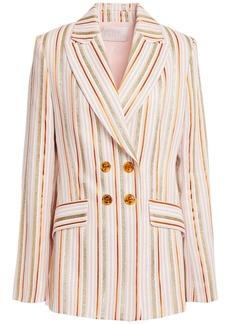 Peter Pilotto Woman Double-breasted Metallic Striped Jacquard Blazer Blush