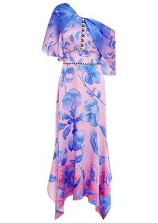 Peter Pilotto Woman Draped Embellished Floral-print Hammered Stretch-silk Satin Midi Dress Lavender