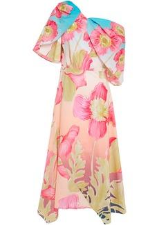 Peter Pilotto Woman Draped Floral-print Cotton-poplin Dress Pink
