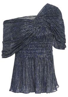 Peter Pilotto Woman Draped Shirred Metallic Jersey Top Indigo