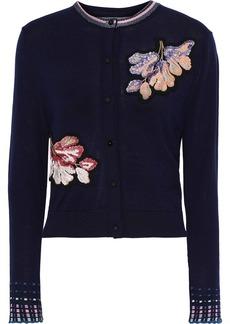 Peter Pilotto Woman Floral-appliquéd Wool Cardigan Navy