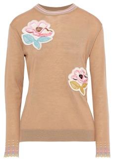 Peter Pilotto Woman Floral-appliquéd Wool Sweater Camel