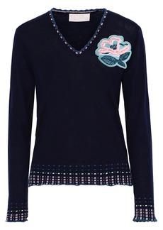Peter Pilotto Woman Floral-appliquéd Wool Sweater Navy