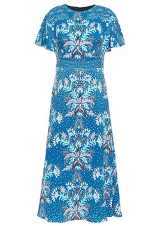 Peter Pilotto Woman Floral-print Cloqué Midi Dress Blue