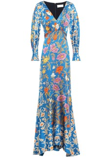 Peter Pilotto Woman Floral-print Hammered Stretch Silk-satin Gown Cobalt Blue