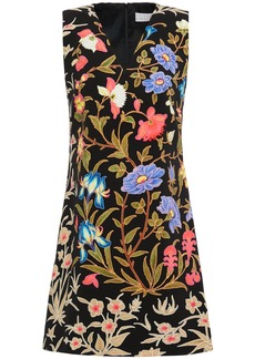 Peter Pilotto Woman Floral-print Stretch-crepe Mini Dress Black