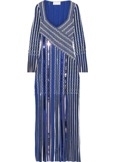 Peter Pilotto Woman Fringed Sequin-embellished Jacquard-knit Gown Blue