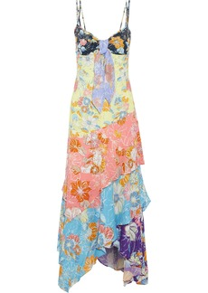 Peter Pilotto Woman Knotted Tiered Floral-print Crepe Maxi Dress Multicolor