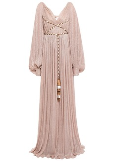 Peter Pilotto Woman Lace-up Tassel-trimmed Metallic Plissé-jersey Gown Antique Rose