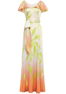 Peter Pilotto Woman Layered Belted Printed Hammered Silk-blend Satin Gown Pastel Pink