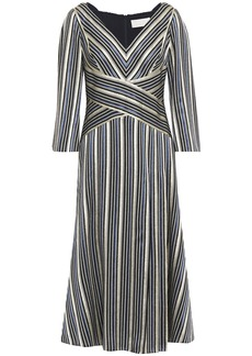 Peter Pilotto Woman Metallic Striped Jacquard Midi Dress Navy
