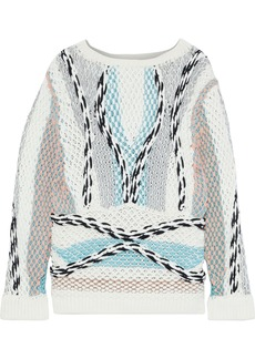 Peter Pilotto Woman Metallic-trimmed Jacquard-knit Sweater White
