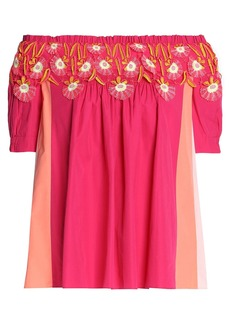 Peter Pilotto Woman Off-the-shoulder Appliquéd Color-block Cotton-poplin Top Fuchsia