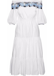 Peter Pilotto Woman Off-the-shoulder Crochet-trimmed Cotton-blend Dress White