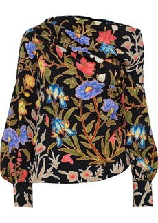 Peter Pilotto Woman One-shoulder Gathered Floral-print Cloqué Blouse Black