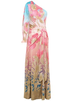 Peter Pilotto Woman One-shoulder Knotted Floral-print Hammered Stretch Silk-satin Gown Light Blue