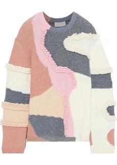 Peter Pilotto Woman Patchwork-effect Metallic Cotton-blend Bouclé Sweater Multicolor
