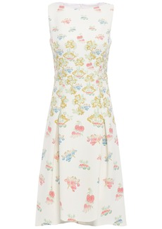 Peter Pilotto Woman Flared Pleated Printed Cady Dress White