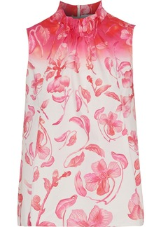 Peter Pilotto Woman Ruched Floral-print Cotton-poplin Top Pink