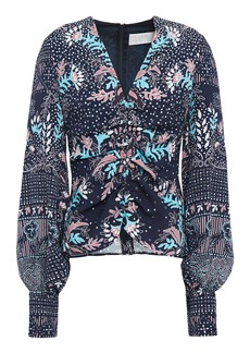 Peter Pilotto Woman Ruched Printed Cloqué Blouse Navy