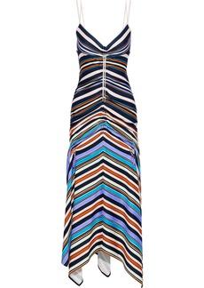 Peter Pilotto Woman Ruched Striped Stretch-jersey Midi Dress Blue